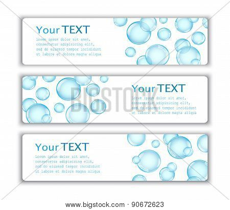 Three cards with bubbles