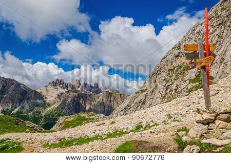 Trail marker on Croda Negra, Dolomites Italy
