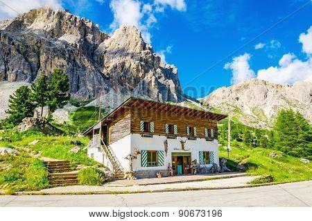 Refuge and beautiful mountains, Dolomites, Italy