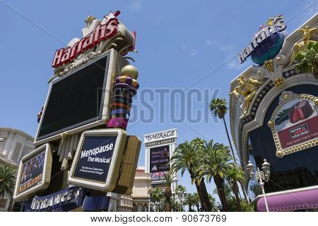The Harrahs and Mirage signs in Las Vegas, Nevada.