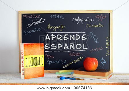 Blackboard in a Spanish class.