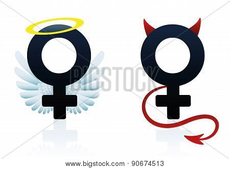Good Girl Bad Girl Angel Devil Female Symbol