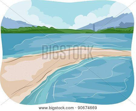 Illustration of a Sandbar in the Middle of the Sea