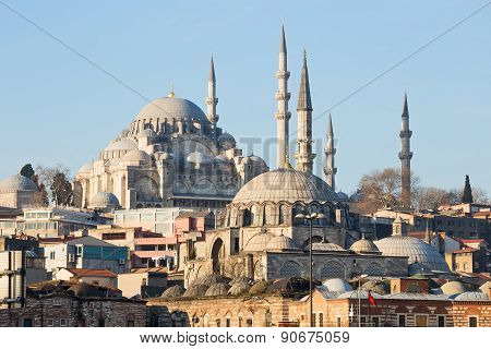 Rustem Pasha Mosque and Suleymaniye Mosque Istanbul Turkey poster