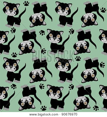 Seamless background with cats