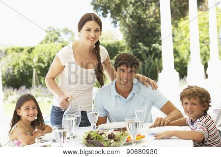 Family eating outisde together