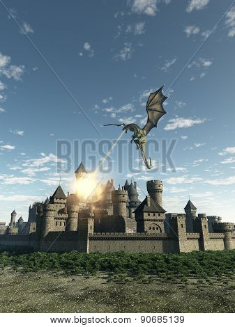 Dragon Attacking a Medieval Walled City