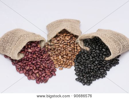 Kidney beans, pinto beans and black beans