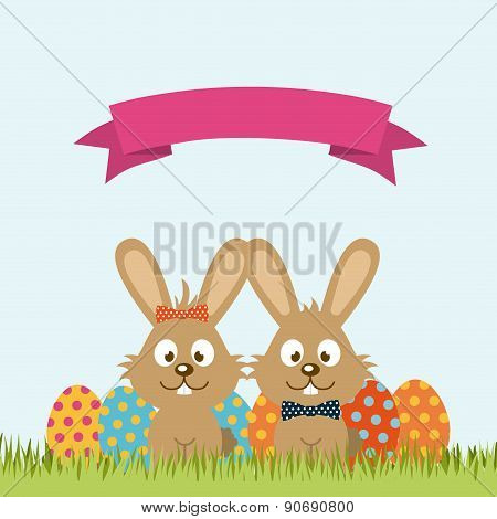 happy easter over sky background vector illustration