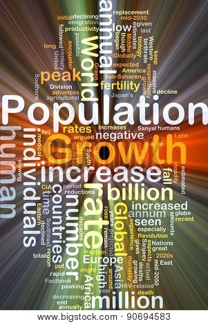 Background concept wordcloud illustration of population growth glowing light