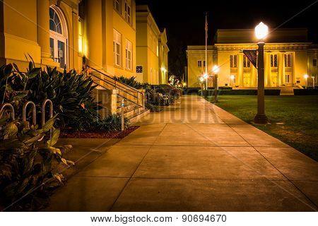 Walkway And Buildings At Night, At Chapman University, In Orange, California.