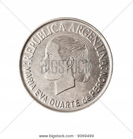 Argentinian Coin With Face Of Evita.