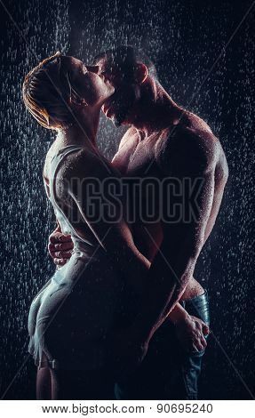 loving couple in the rain