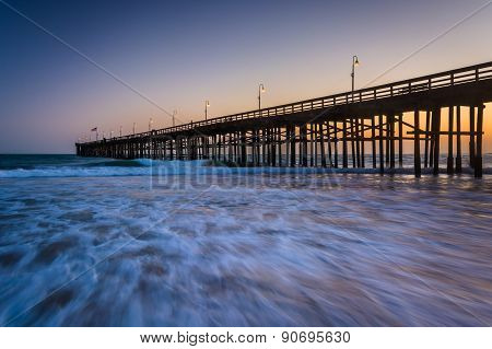 Waves In The Pacific Ocean And The Pier At Sunset, In Ventura, California.