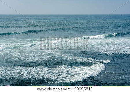 Waves In The Pacific Ocean At Sunset Cliffs Natural Park, Point Loma, California.