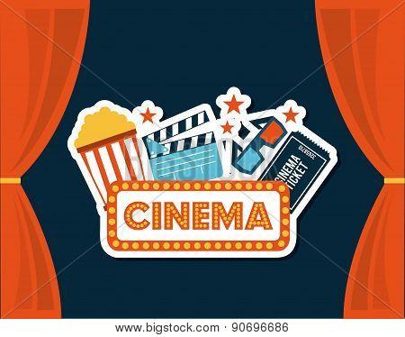 cinema design over blue background vector illustration poster