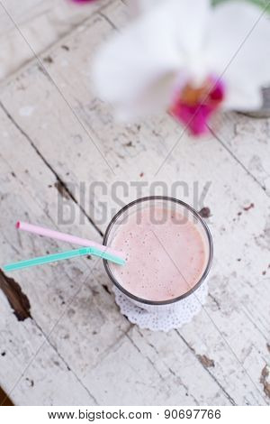 Strawberry And Banana Smoothie Healthy Drink With Yogurt