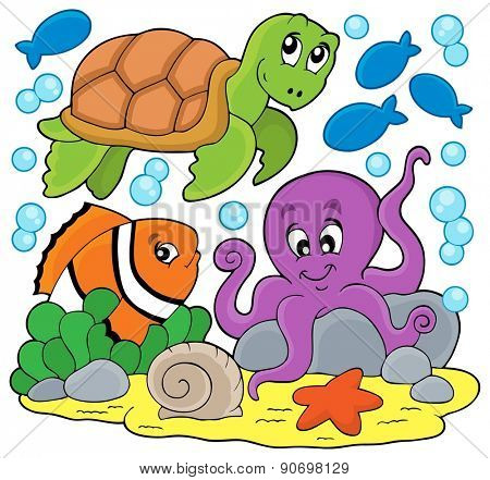 Sea animals thematic image - eps10 vector illustration.