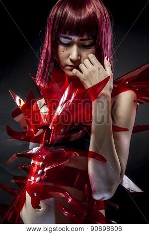 geisha robot with red armor, beautiful young Japanese woman in a suit methacrylate