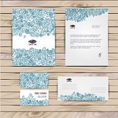 Vector corporate identity floral pattern. Abstract backdrop. Floral ID template. Brand visualization corporate identity set. poster