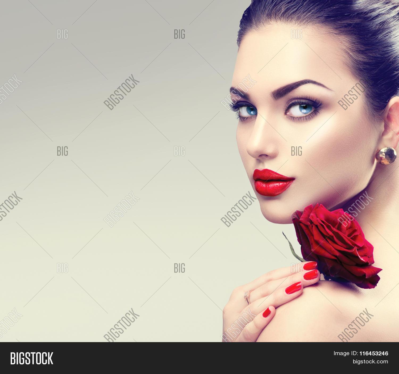 Fashion Beauty Model Girl Stock Image Image Of Manicured: Beauty Fashion Model Woman Face. Image & Photo
