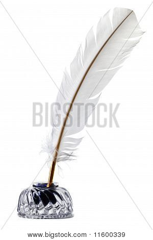 White Feather Quill Pen And Inkwell Isolated