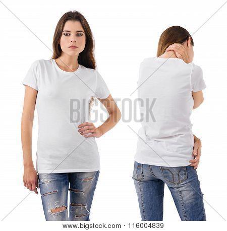 Sexy Brunette Wearing Blank White Shirt