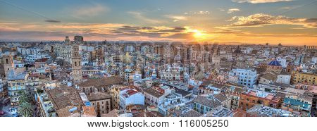 Sunset Over Historic Center of Valencia, Spain.