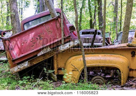 Red Truck On Yellow Truck