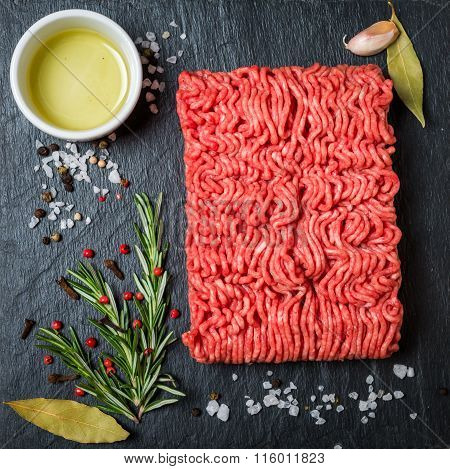 Minced Meat  With Seasonings And Fresh Rosemary
