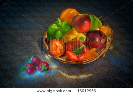 horizontal light painted colorful fruit bowl