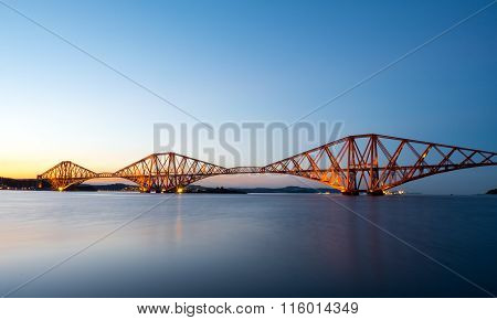 The Forth Rail Bridge after sunset