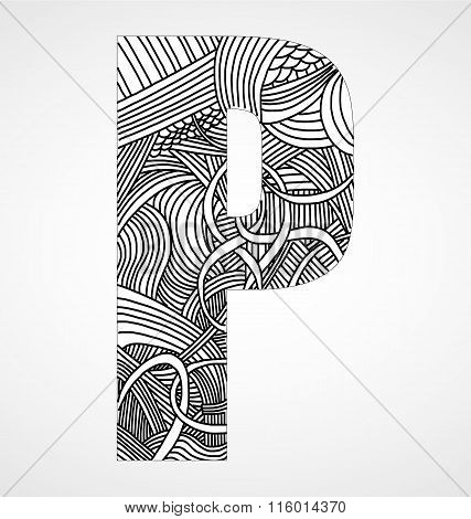 Letter P From Doodle Alphabet.