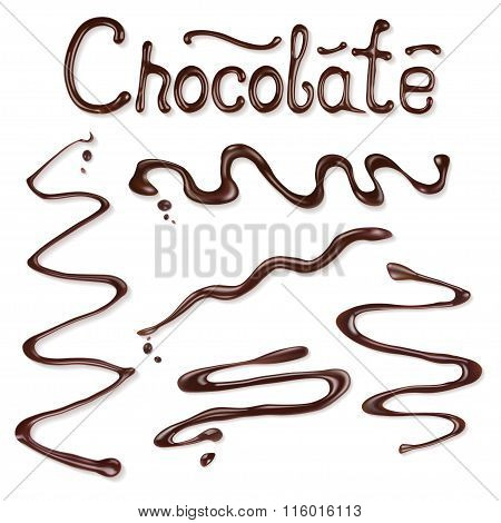 Collection Of Chocolate Sauce. Vector Illustration