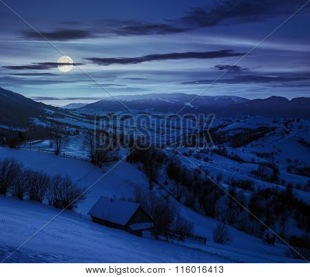 Rural Area In Mountains At Night