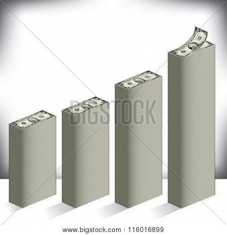 Bar graph made of dollar bills