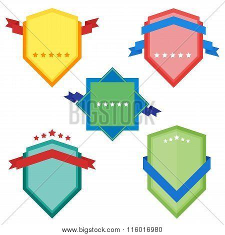 Different badges set. Ribbon badges. Badges icon collection. Advertisement badges. Blank badges. Raster badges flat vintage style. Design badges. Set of raster badges, label and sticker. Colorful badges. Isolated badges set. Abstract badges. Flat badges.