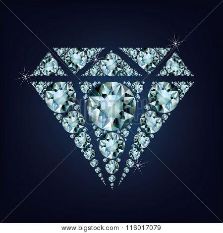 Shiny bright diamond symbol made a lot of diamonds