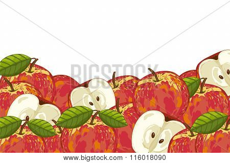 Apple isolated on white background. Apple fruit plants and leaves. Organic fruit. apple  vector. Fruit for apple juice. Ripe apple composition. Apple with green leaves.