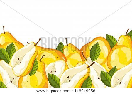 pear isolated on white background. pear composition, plants and leaves. Organic fruit. pear  vector. Fruit for pear juice. Ripe pear composition.