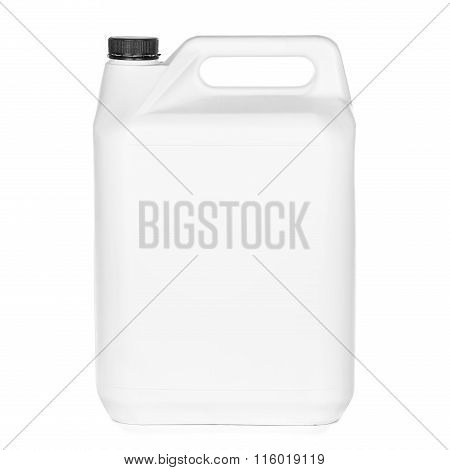 White plastic bucket with lid on  white background