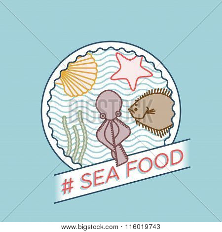 Vector Line Octopus Turbot Seashell Seafood Badge