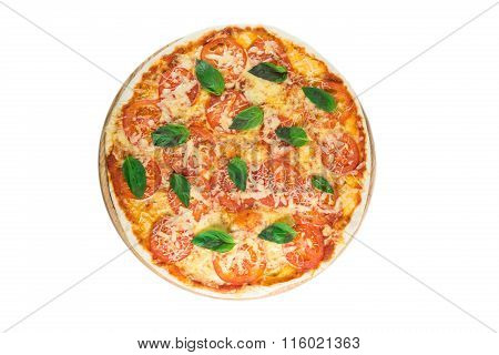Tasty Pizza With Vegetables, Chicken And Olives Isolated On White.a Popular Pizza Topping In America