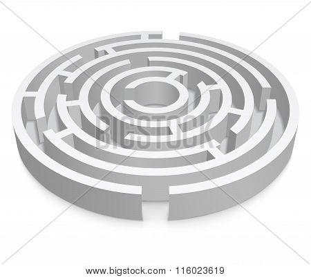 White Round 3D Labyrinth On White Background