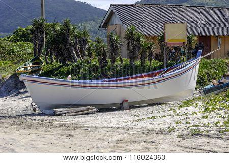 Boat at Pantano do Sul beach in Florianopolis-SC Brazil