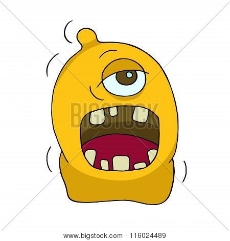 Cute Bright Monster Or Alien With One Eye