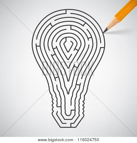 Maze In The Shape Of Light Bulbs In Pencil. Vector Illustration