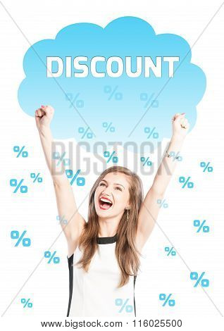 Rain Of Discounts On A Happy Woman.