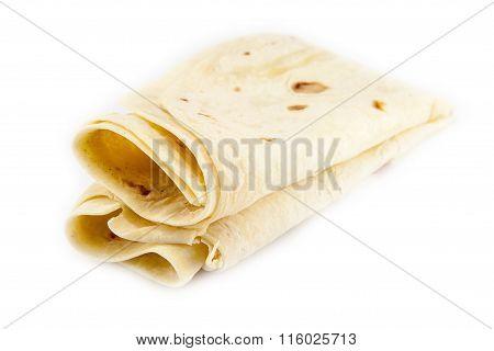 Large Thin Pita Bread, Isolated