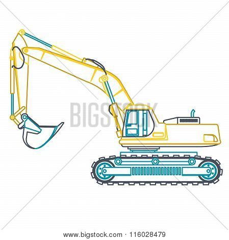 Blue yellow outline big digger builds roads on white. Digging of ground. Heavy machinery.